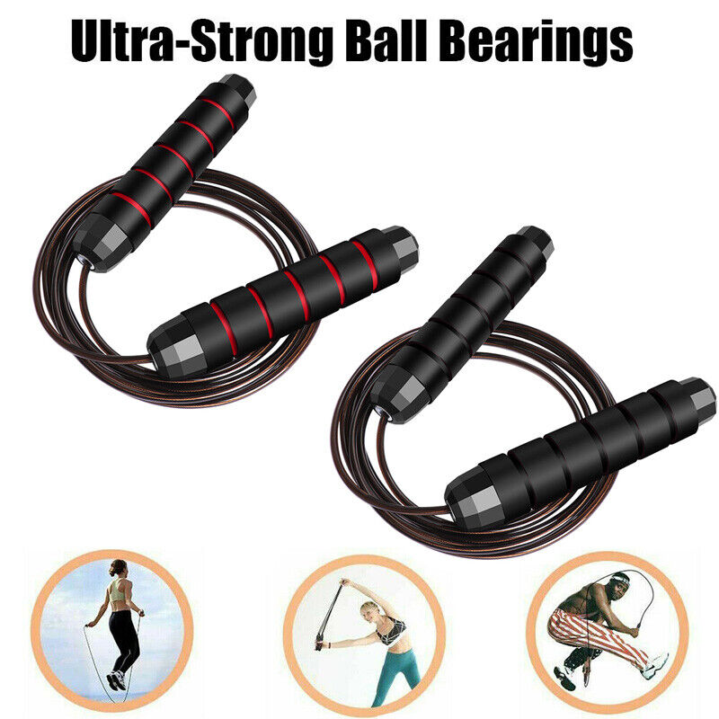 Jump Rope Boxing Weighted Adult Ball Bearing Beaded Fitness Gym Speed Adjustable