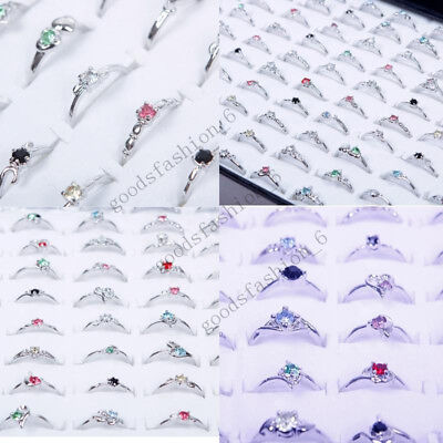 New Woman Wholesale Lots 30pcs Rhinestone Assorted Silver Plated Ring Hot](Wholesale Plates)