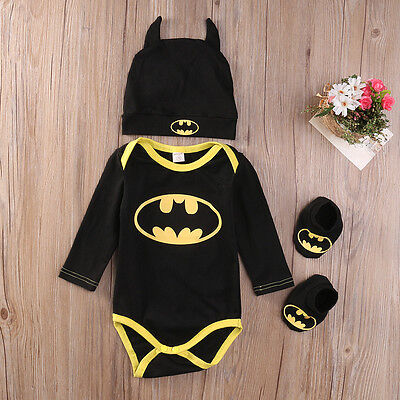 Batman Baby Costume (Newborn Baby Boy Girl Clothes Batman Rompers+Shoes+Hat Costumes Outfits Set)