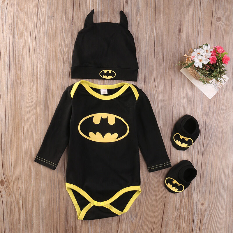 Newborn Baby Boy Girl Clothes Batman Rompers+Shoes+Hat Costu