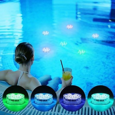 4PC Swimming Pool Light RGB LED Bulb Remote Control Underwater Color Vase Decor - Pool Decorations