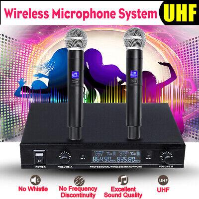 Pro Wireless UHF Microphone Mic System 2 Channel Dual Handheld Karaoke   Uhf Wireless Karaoke Microphone System