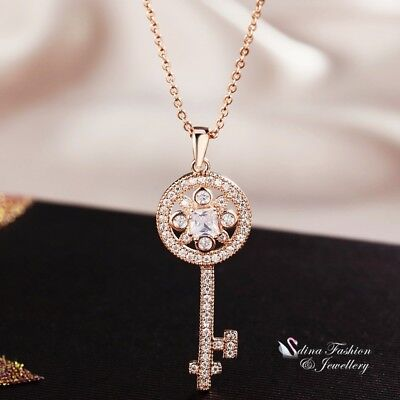 18K Rose Gold Filled Full Simulate Diamond Studded Sparkling Daisy Key -