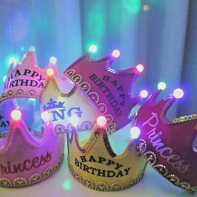 Adult Birthday Hats (Christmas LED Glowing Crown Cap Kid Birthday Party Adult King Princess Crown)