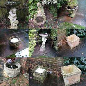 10 weathered stone planters & 2 birdbaths FOR SALE!!!