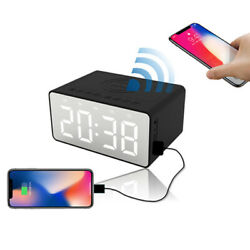Wireless bluetooth Bass Speaker LED Display Dual Alarm Mirror Clock USB FM Radio