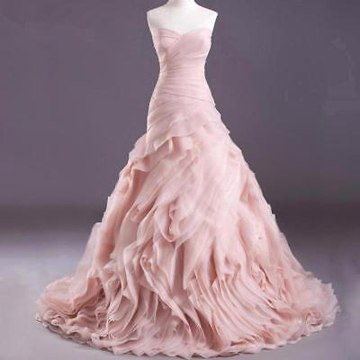 Ruffles Organza Blush Pink Wedding Dresses Mermaid Bridal Gown Custom Size 4 26