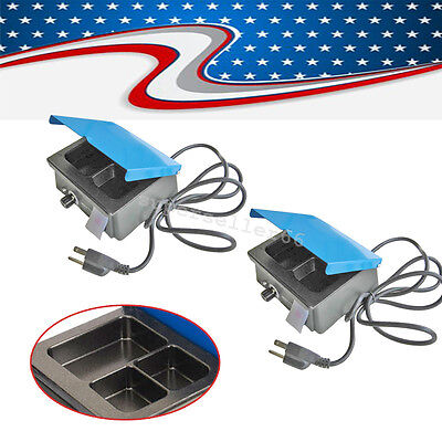 2x Usa Analog Wax Heater Melting Pot For Dental Lab Equipment 3 Well Container A