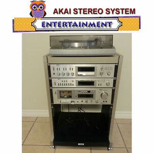VINTAGE AKAI COMPLETE STEREO SYSTEM RACK MOUNTED ON WHEELS