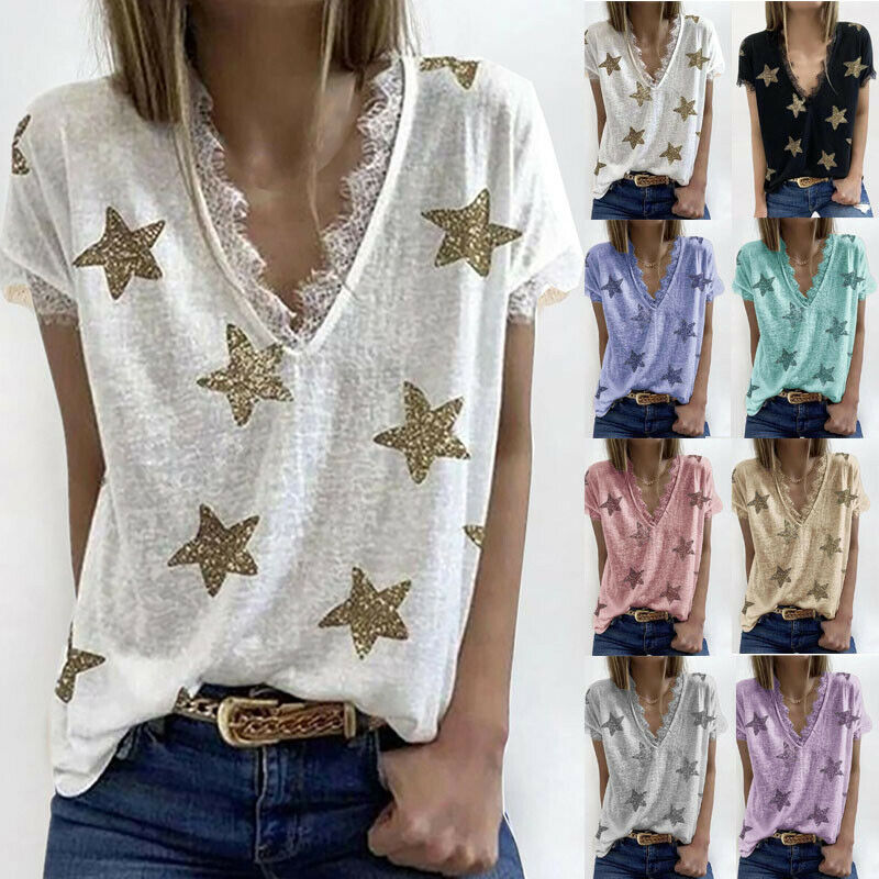 Summer Blouse V-neck Printed Lace Loose Casual Women Soft T-shirt Tops Size XL Clothing, Shoes & Accessories