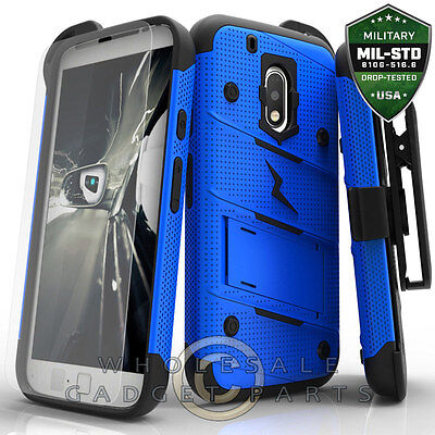 Motorola Moto G Play Bolt Case W/Stand - Blue/Black Protector Guard (Blue Shield Protector Case)