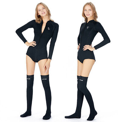 Women Shorty Wetsuit 2mm Neoprene Long Sleeve Wetsuit Stockings Surf Diving - Long Sleeve Shorty Wetsuit