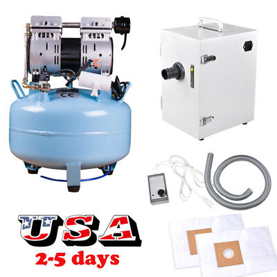 Us Dental Oilless Silent Air Compressor Motor Dust Collector Vacuum Cleaner 110v