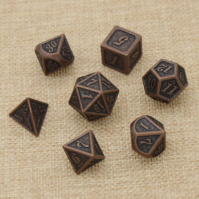 Set of 7 Polyhedral Multi-sided Iron Dices Role Playing Board Game Supplies