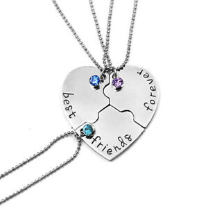 3PCS BEST FRIEND Forever And Ever Heart Rhinestone Pendants Necklace Friendship