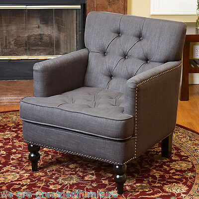 Elegant Design Grey Tufted Fabric Upholstered Club Chair w/ Nailhead Accents