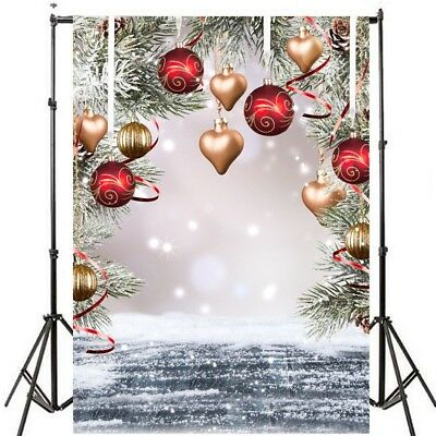 5X7FT Photo Background Photography Backdrop Props, Christmas Balls Love Heart US