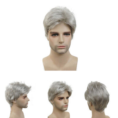 Fashion Men Grandma Light Gray Short Curly Capless Synthetic Hair Cosplay Wig US