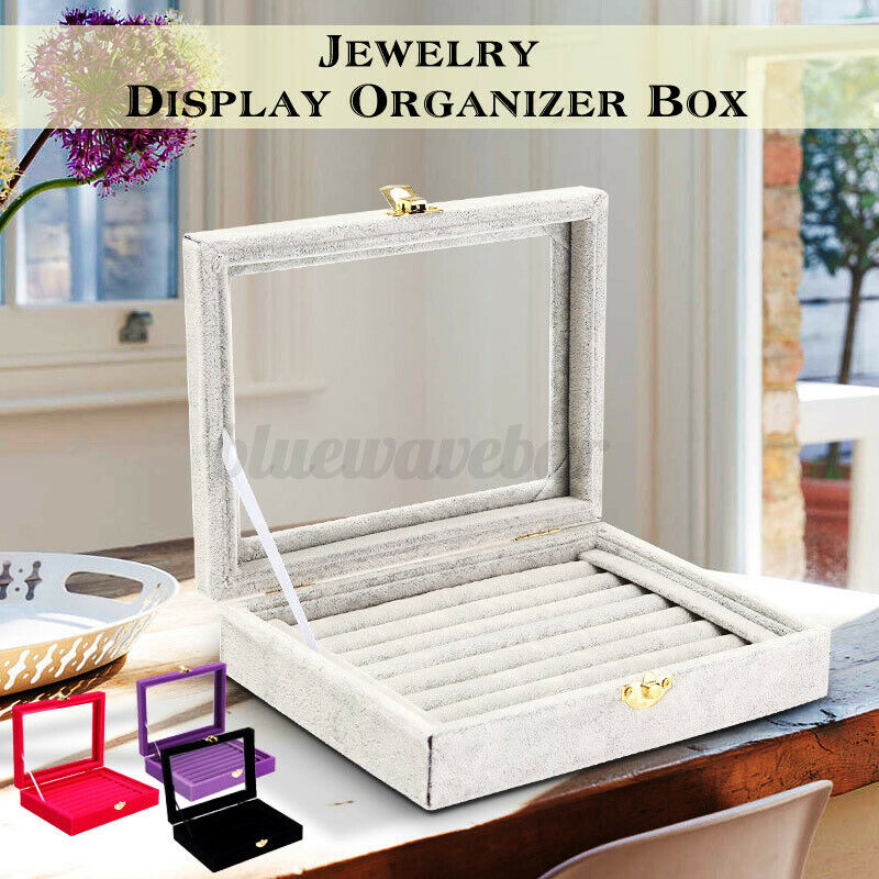 Velvet Necklace Jewelry Gift Display Box Ring Bracelet Storage Case Charm Holder
