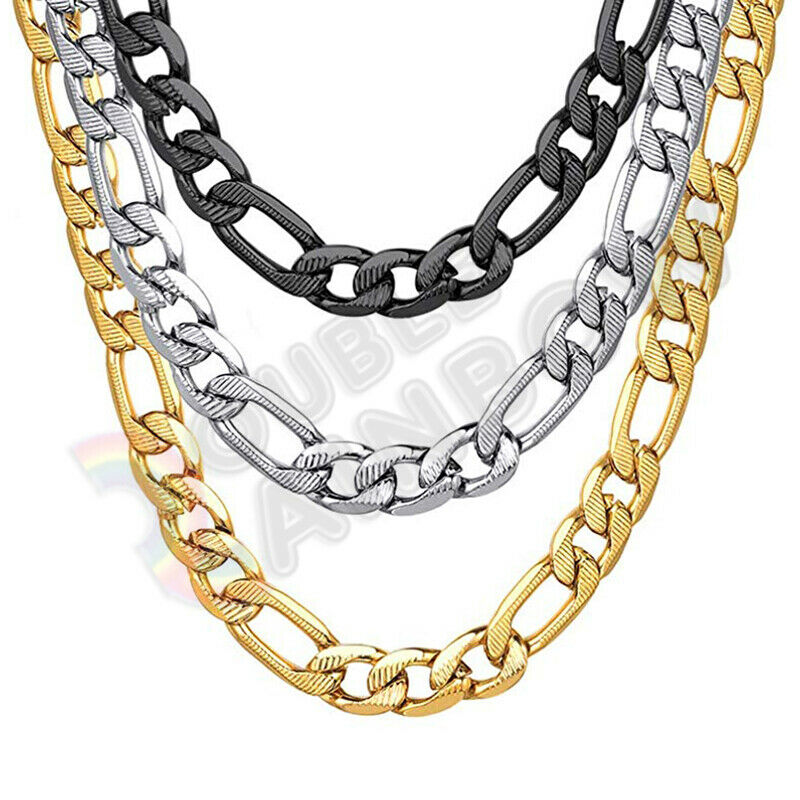 Men Stainless Steel Diamond Cut Figaro Necklace 6/8mm Chain