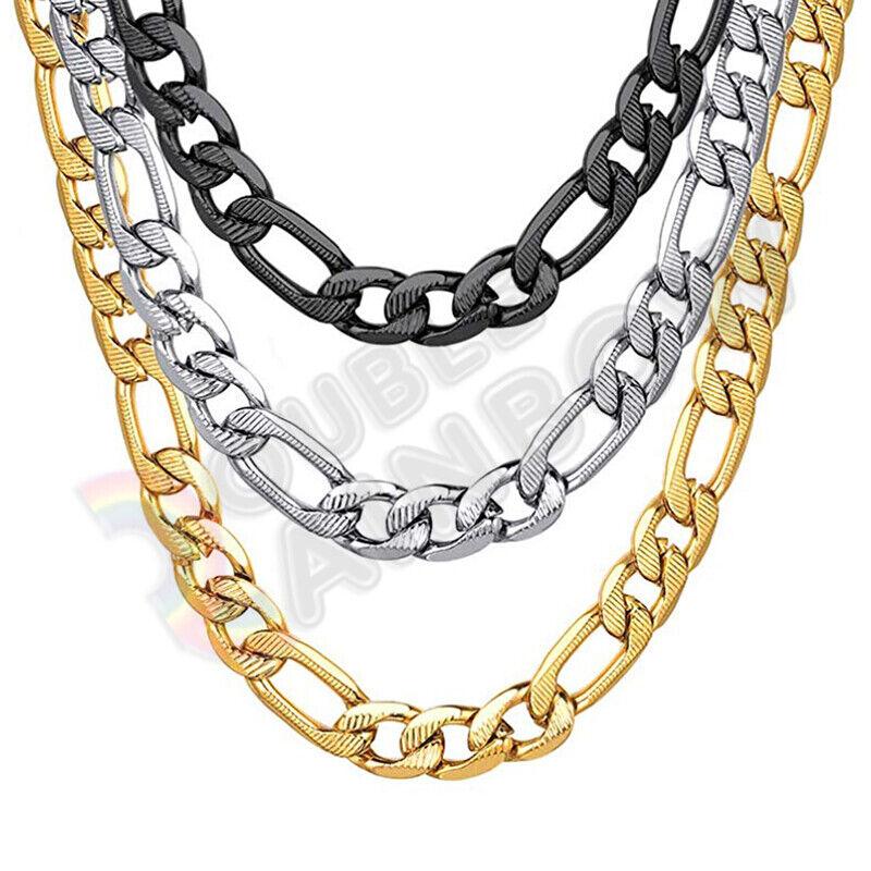 men stainless steel diamond cut figaro necklace