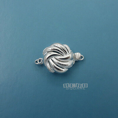 Sterling Silver Round Box Clasp (1 PC Solid Sterling Silver Swirl Braid Round Box Clasp Connector)