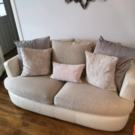 Couch, single chair, 'cuddle chair' and pouffe