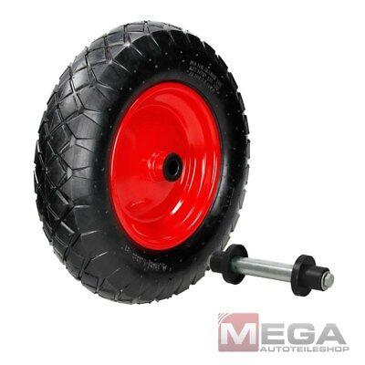 Schubkarrenrad mit Achse 4.80/4.00-8, 200 KG Ø 390 mm Luftrad Metallfelge Reifen