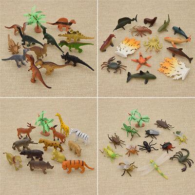 12x Figur Dinosaurier Meerestier Insekt Kunststoff Kinder Spielzeug Deko Modell
