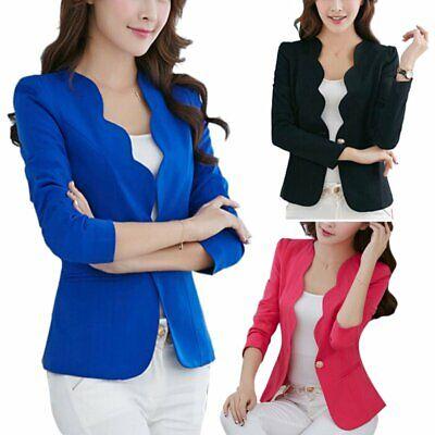 Long Short Sleeve Slim Womens Ladies Blazer Jacket Formal Suit Coat Cardigan US - Short Suit