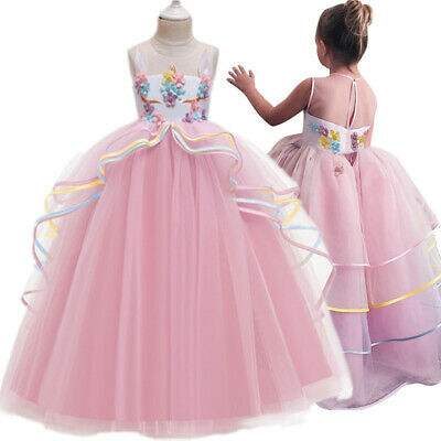 Childrens Wedding Dress Costume (Unicorn Dress for Girl Flower Costume Kids Birthday Children Wedding Prom)