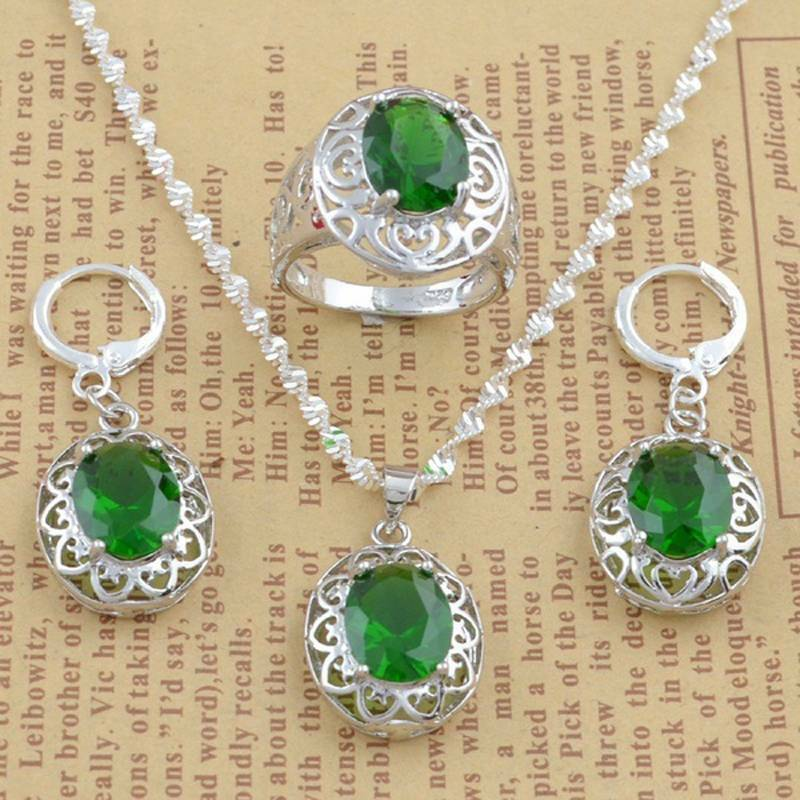 Women Jewelry Set 925 Silver Pendant Necklace Earrings Ring