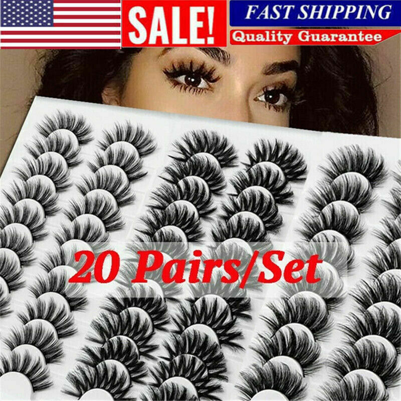 20 Pairs 3D Mink Natural Bushy Cross Fake False Eyelashes Ha