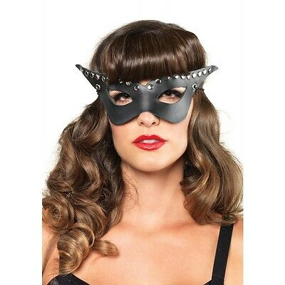 LA-A1682 Sexy Black Faux Leather Bad Girl Eye Mask Halloween Costume Party