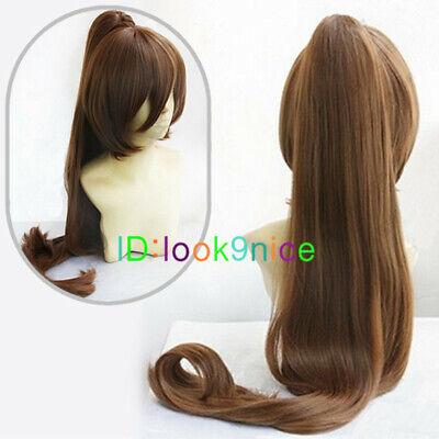 New long Brown clip ponytail Cosplay wig + Wig cap (Brown Ponytail Wig)