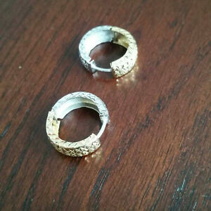 Men's 14k White and Yellow Gold Earrings