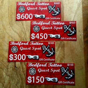 BEDFORD TATTOO Guest Spot has Gift Certificates.
