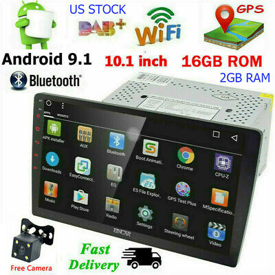Android 9.1 Double 2Din 10.1'' Car GPS Stereo Radio Player 4G BT WIFI USB+Camera