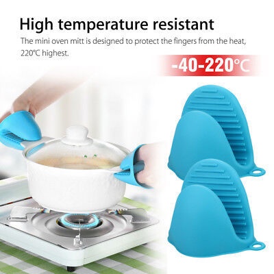 Silicone Oven Mitt Pot Holder Heat Resistant Mini Pinch Grilling Kitchen Grip -