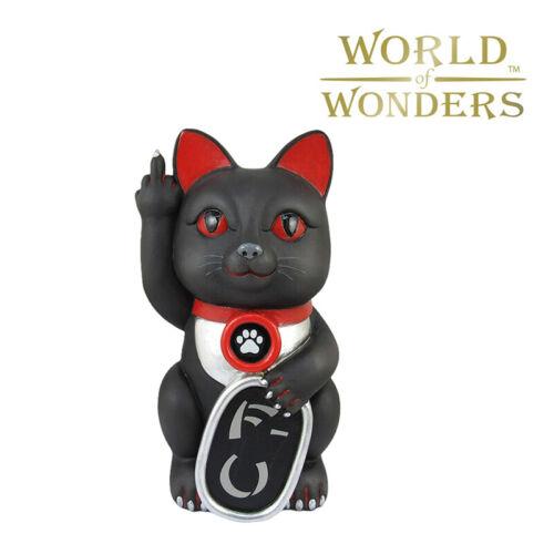 "Black Maneki Neko Cat Figurine  MIddle Finger Collectible Good Luck Statue 7"""