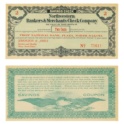 1St Nat Bank Plaza Nd Northwestern Bankers   Merchants Check Company 2 Cents