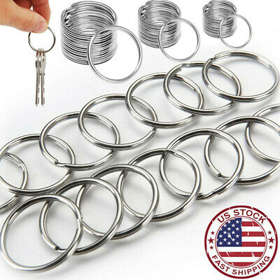 200pcs Silver Keyring Stainless Steel Metal Car Key Holder Split Rings 25mm Lots