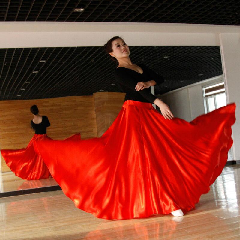 Lady Latin Salsa Flamenco Wrap Skirt Ballroom Dance Modern Tango Waltz Swing Red