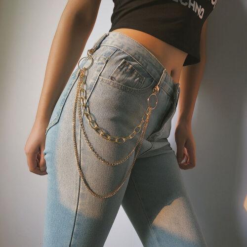Fashion Metal Trousers Pants Chain Hip Hop Punk 3 Layers Jea