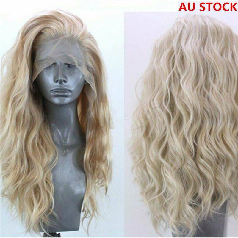 Sexy Style Synthetic Hair Natural Wavy Lace Front Wig Lady Golden Blonde Curly Ebay