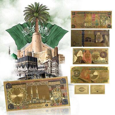 WR Saudi Arabia Gold Banknote Set 5pcs Colored 20-500 Riyal Color Foil Bill Note