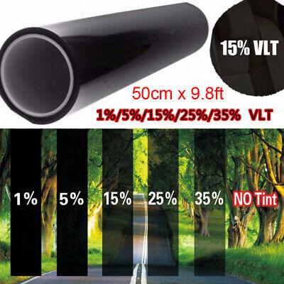 Black Glass Window Tint Shade Film VLT 15% Auto Car House Roll 50×300cm