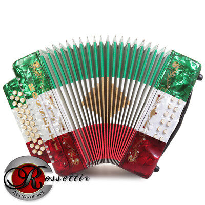 Rossetti 3112 FBbEb FA Sol 31 Button Diatonic Accordion - RED WHITE GREEN + CASE