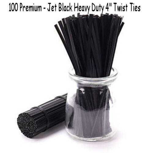"100 Black Twist Ties 4"" for Favor Gift Candy Bag Bread Heavy Duty Masks"