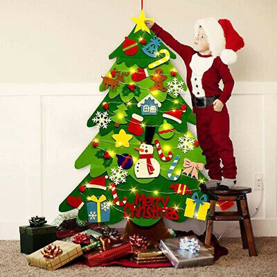 3FT DIY Felt Christmas Tree Ornaments Wall Hanging for Kids New Year Party US
